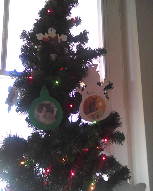 christmas tree with kitty ornaments