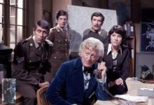 two cats with UNIT personnel and Sarah Jane Smith